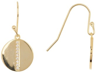 Rivka Friedman 18K Gold Clad Simulated Diamond Accent Disc Hook Earrings