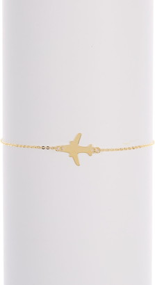 KARAT RUSH 14K Yellow Gold Airplane Charm Bracelet