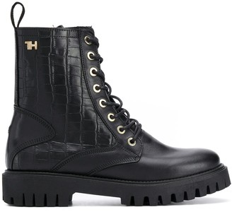 Tommy Hilfiger Crocodile-Embossed Combat Boots