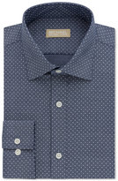 Michael Kors Men's Classic Fit Non-Iron Blue Dotted Print Dress Shirt
