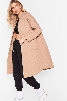 Nasty Gal Womens Quilted Oversized Button Down Longline Coat - Beige - S/M