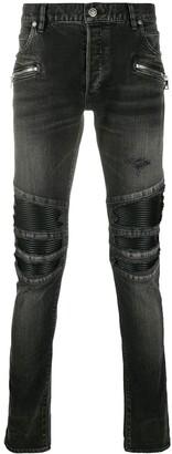 Balmain Ribbed Knees Skinny Jeans