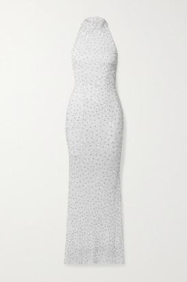 retrofete Olivia Embellished Tulle Halterneck Gown - White