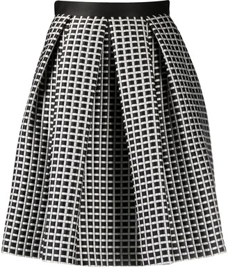 Emporio Armani Check Patterned Pleat Detail Skirt
