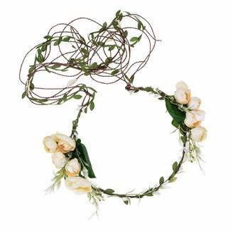 Merroyal Flower Crown Floral Wreath Headband Festivals Wedding Fair Accessory Photo Props (Ivory)