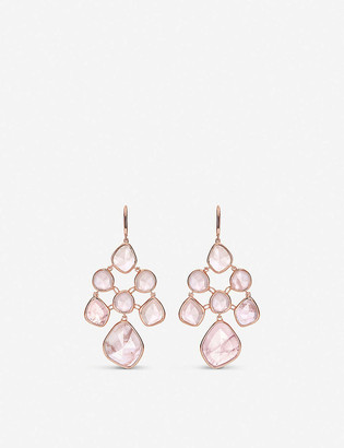 Monica Vinader Siren Chandelier 18ct rose-gold vermeil and rose quartz earrings