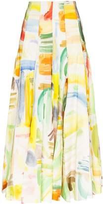 Rosie Assoulin Million Pleats watercolour-print maxi skirt