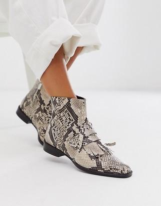 ASOS DESIGN Argentina flat leather loafer boots in snake