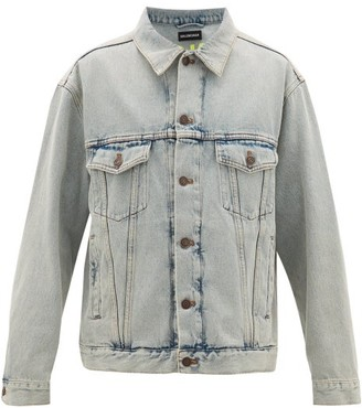 Balenciaga Logo-embroidered Denim Jacket - Mens - Light Blue