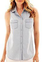 JCPenney a.n.a® Sleeveless Denim Shirt