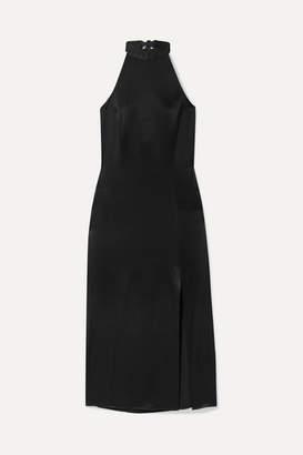 Alice + Olivia Regina Halterneck Satin Midi Dress - Black