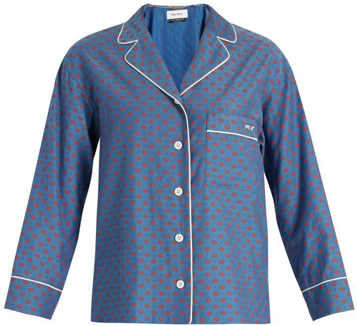 Muveil Lip-print contrast-piping shirt