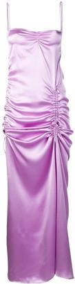 Priscavera Ruched Satin Slip Dress