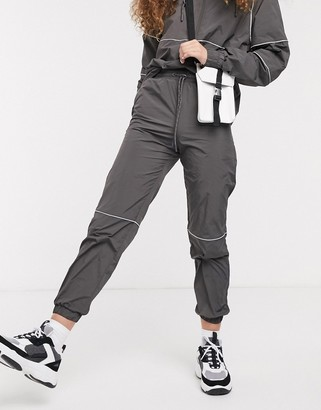 Monki joggers with contrast piping in grey