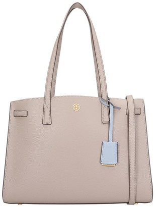Tory Burch Satchel Tote In Grey Leather