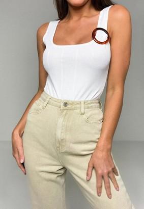 Missguided White Rib Square Neck Ring Detail Bodysuit