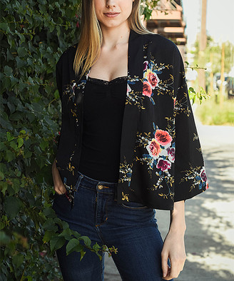 Leto Collection Women's Kimono Cardigans BLACK - Black Floral Bell-Sleeve Kimono - Women