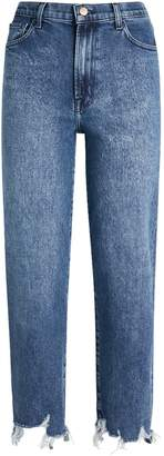 J Brand Frayed Jules High-Rise Straight Jeans