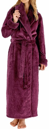 Slenderella Ladies Soft Thick Embossed Purple Velvet Fleece Faux Fur Collared Belt Up Bath Robe Dressing Gown House Coat Size Large 16 18