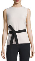 Joseph Sleeveless Belted Crepe Top, Cameo