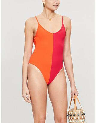 Les Girls Les Boys Colour v-neck swimsuit