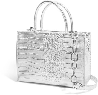 House of Want H.O.W. We Gram Small Tote In Silver Croco