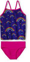 Classic Girls Tankini Swimsuit Set-Royal Plum Rainbows