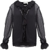 Chloé Ruffled Flocked Silk-blend Blouse - Womens - Black