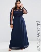 Club L Plus Maxi Dress With Crochet Mesh Detail