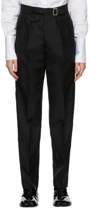 Maison Margiela Black Wool and Mohair Pleated Gabardine Trousers