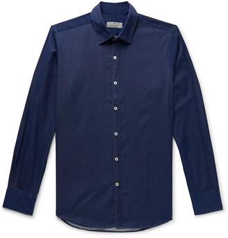 Canali Slim-fit Cotton-chambray Shirt - Blue