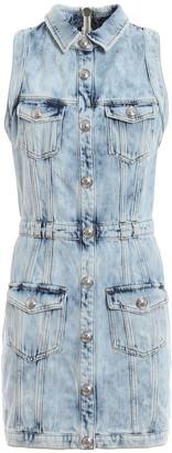 Balmain Sleeveless Buttoned Denim Mini Dress