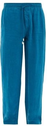 Vilebrequin Pacha Logo-patch Linen Trousers - Blue