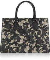 Gucci Linea A Medium Leather-appliquéd Coated-canvas Tote - Black