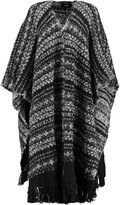 Line Blanche fringed alpaca-blend cape