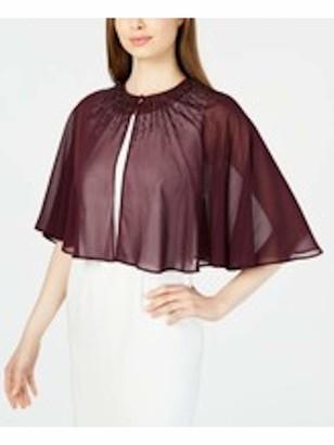 Calvin Klein Womens Burgundy Embellished Sleeveless Jewel Neck Formal Top UK Size:12