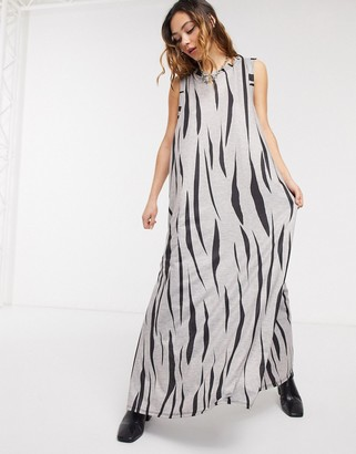 Another Reason jersey maxi dress in zebra print with thigh split