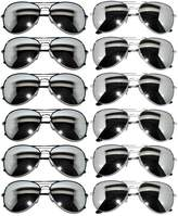 OWL 12 Pack Aviator Mirrored Lens Eyeglasses Black, Silver Frames