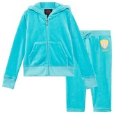 Juicy Couture Aqua Blue Sequined Winged Logo Velour Hoodie
