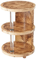 Theodore Alexander Terrace Tiered Side Table - Burl frame, beige/clear; hardware, silver