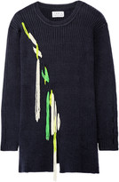 Tanya Taylor Jane embellished cutout ribbed cotton-blend sweater