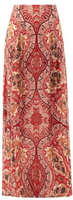 Etro Paisley-print Crepe Maxi Skirt - Red Multi