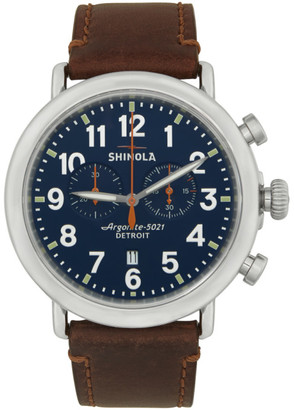 Shinola Silver and Blue The Runwell 47mm Watch
