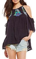 Free People Knit Fast Times Embellished Cold Shoulder Top