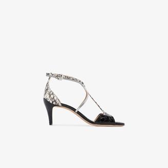 Chloé black 60 snake print T-bar leather sandals
