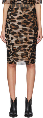 Ganni Brown and Beige Leopard Skirt