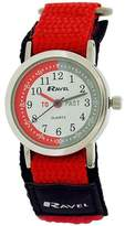 Ravel Children's Boys Time Teacher Black / Red Velcro Nylon Strap Watch R1507.56