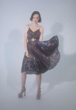 DELFI Collective The Aria Dress In Rainbow Sequin - M