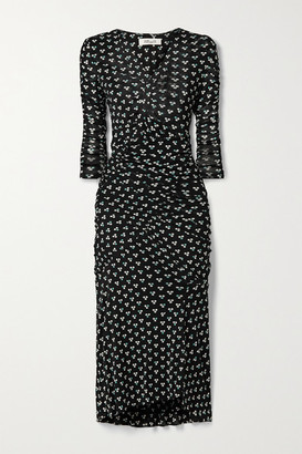 Diane von Furstenberg Briella Ruched Polka-dot Stretch-mesh Wrap-effect Dress - Black