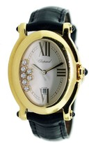 Chopard Happy Sport 27/7000-23 18K Yellow Gold & Leather Mens Watch